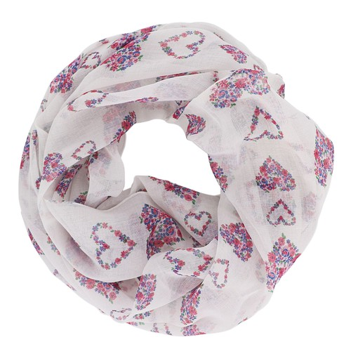 White Floral Hearts Infinity Scarf - orangeshine.com