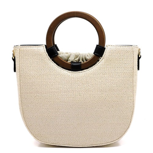 Wooden Straw Drawstring Satchel - orangeshine.com