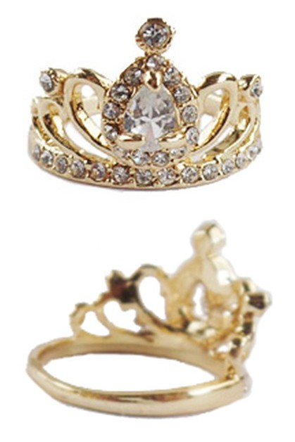 Rhinestone Crown Ring - orangeshine.com