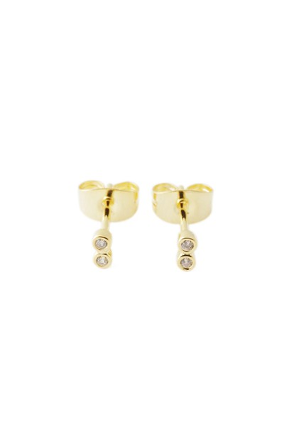 Double Crystal Bezel Stud Earrings - orangeshine.com