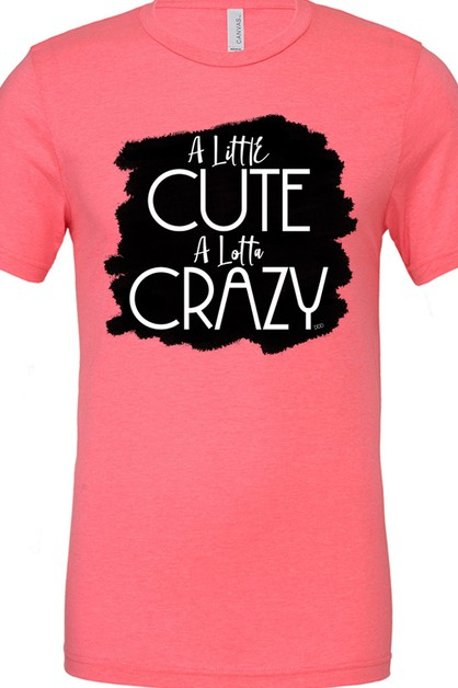 Little Cute Lotta Crazy Neon Pink T - orangeshine.com