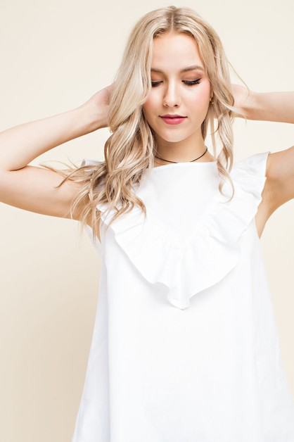 Sleeveless Ruffled Yoke Blouse - orangeshine.com
