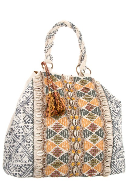 SEASHEL BEAD TASSEL FASHION HANDBAG - orangeshine.com