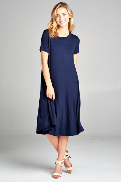 SOLID KNIT SWING SHORT SLEEVE DRESS - orangeshine.com