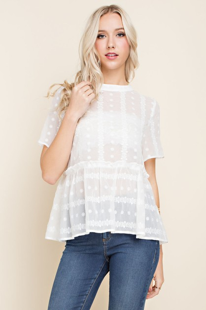 Sheer Embroidered Babydoll Blouse - orangeshine.com