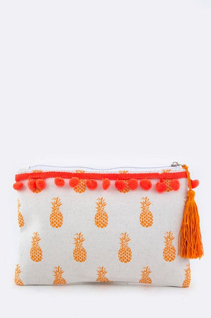 Pineapple Pompom Canvas Pouch - orangeshine.com