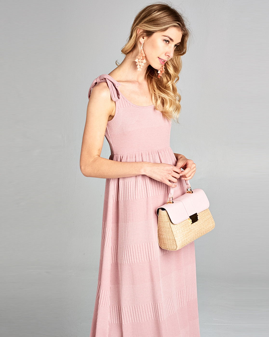 Shoulder tie knit midi dress - orangeshine.com