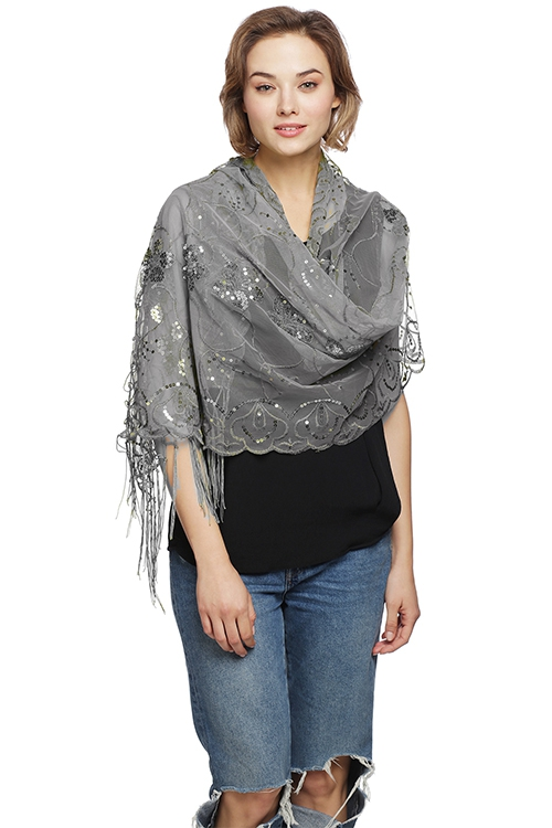 Mesh Sequin Party Shawl with Fringe - orangeshine.com
