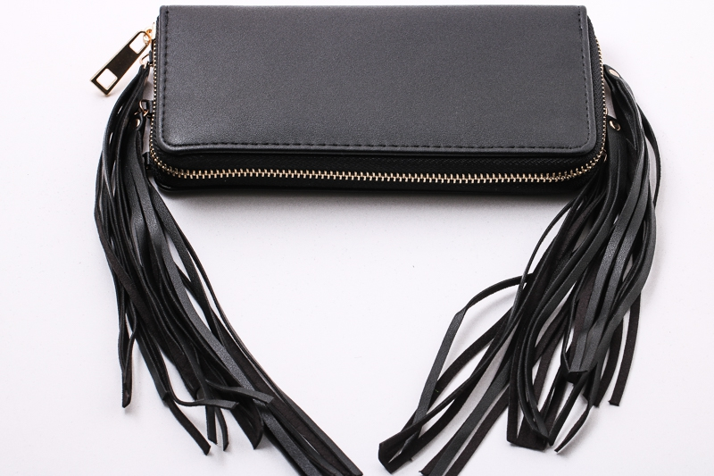 Solid Leather Tassel Clutch Wallets - orangeshine.com