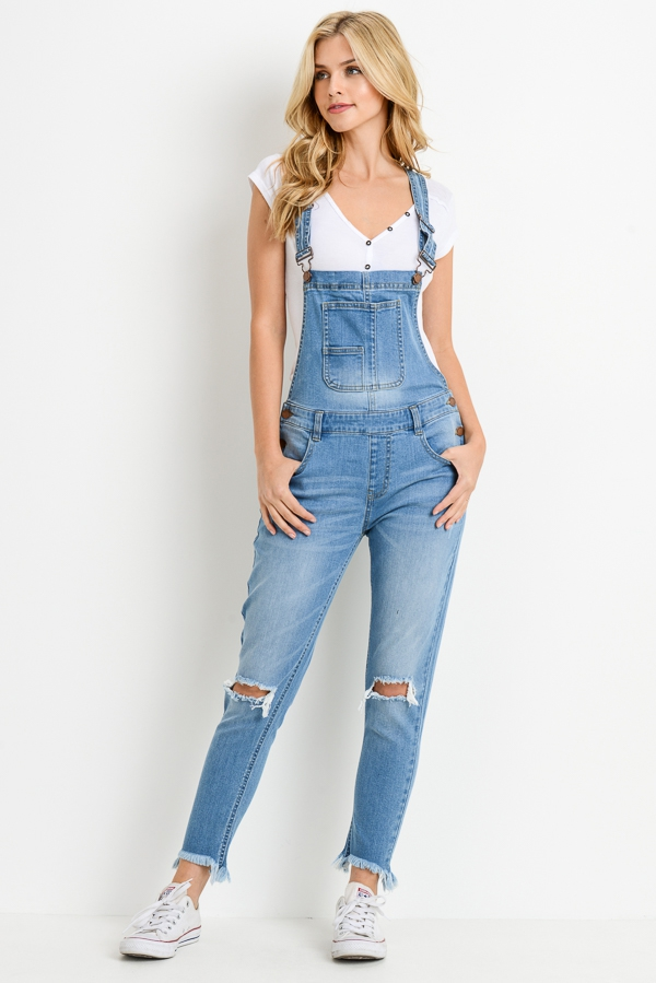 Denim Overall with Destruction - orangeshine.com