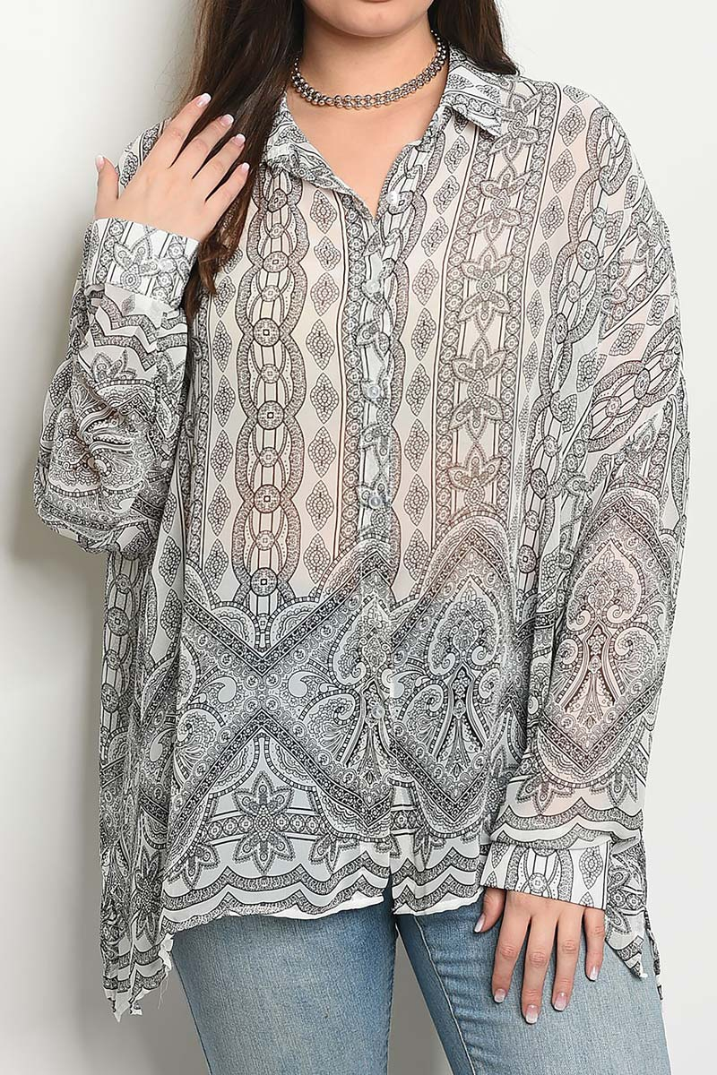 BUTTON DOWN PRINTED LONG SLEEVE TOP  - orangeshine.com