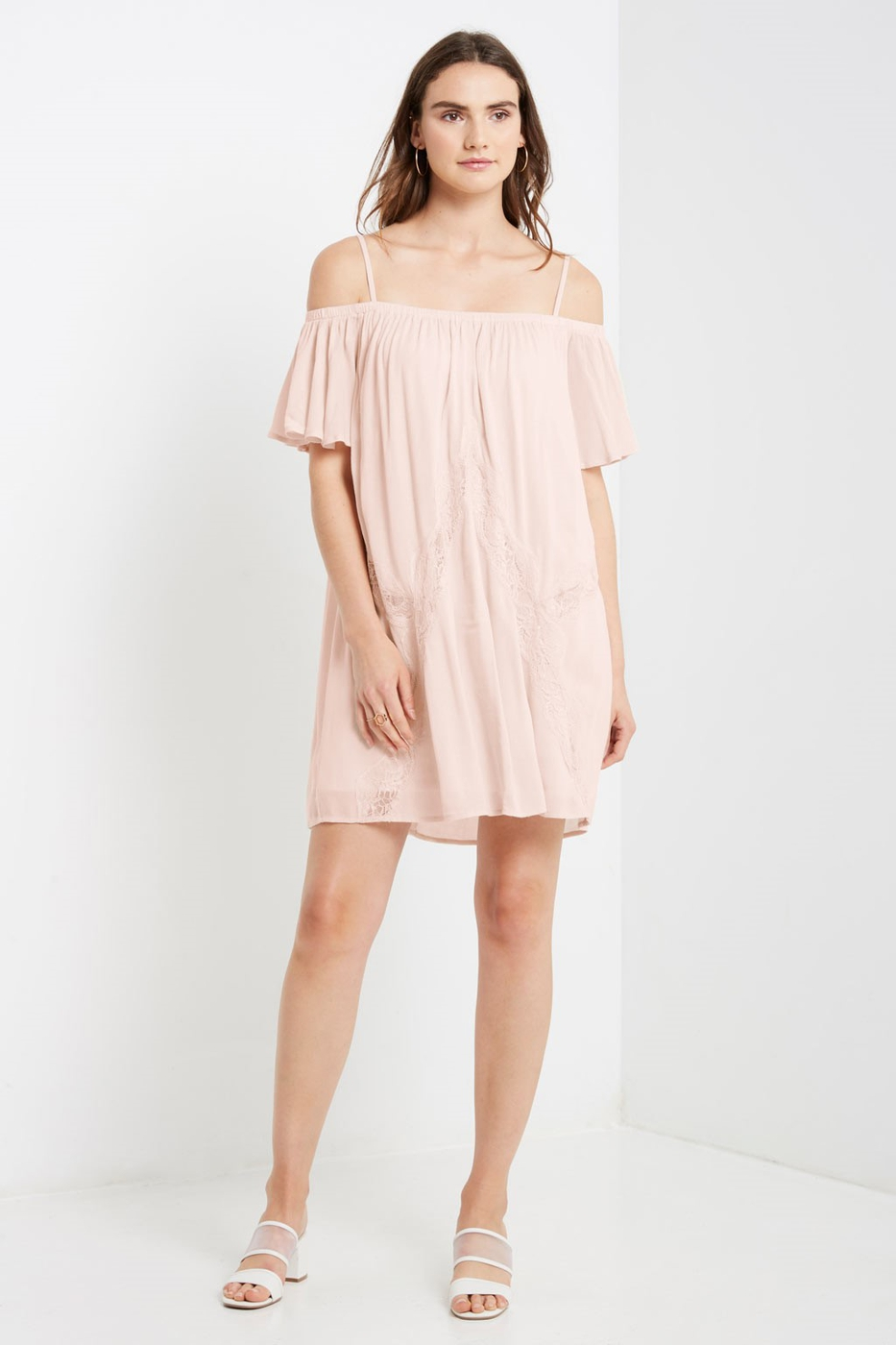 Lace Cold Shoulder Swing Dress - orangeshine.com