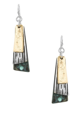 Layered Hammer Metal Drop Earrings - orangeshine.com