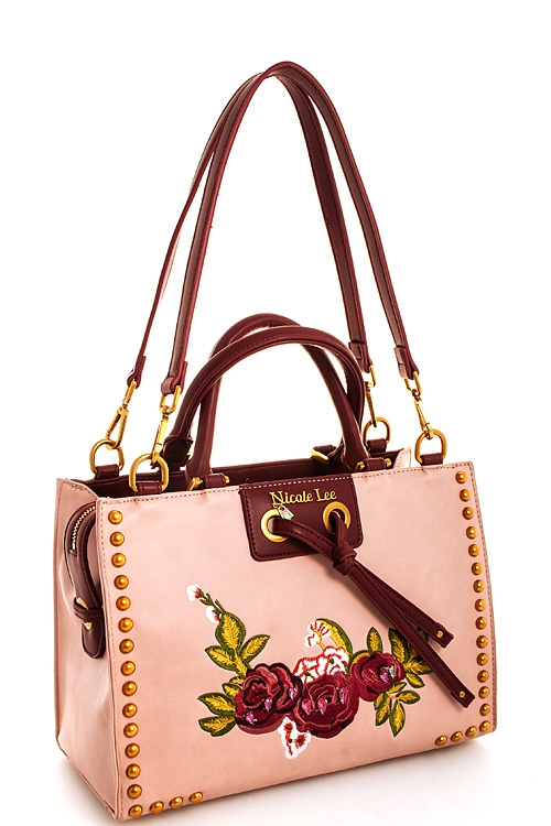 Nicole Lee Rose Embroidered Satchel  - orangeshine.com