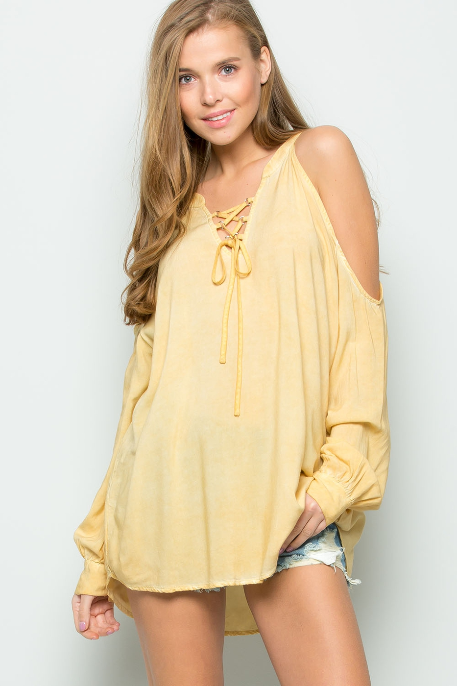 MINERAL WASH OPEN SHOULDER TOP - orangeshine.com