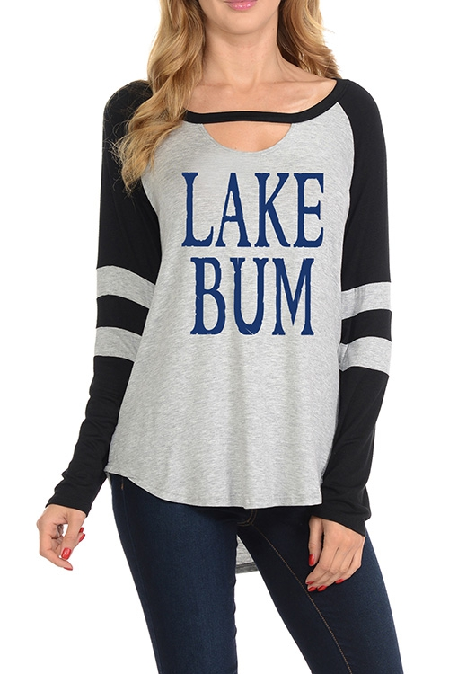 LAKE BUM GRAPHIC CUTOUT KEYHOLE TOP - orangeshine.com