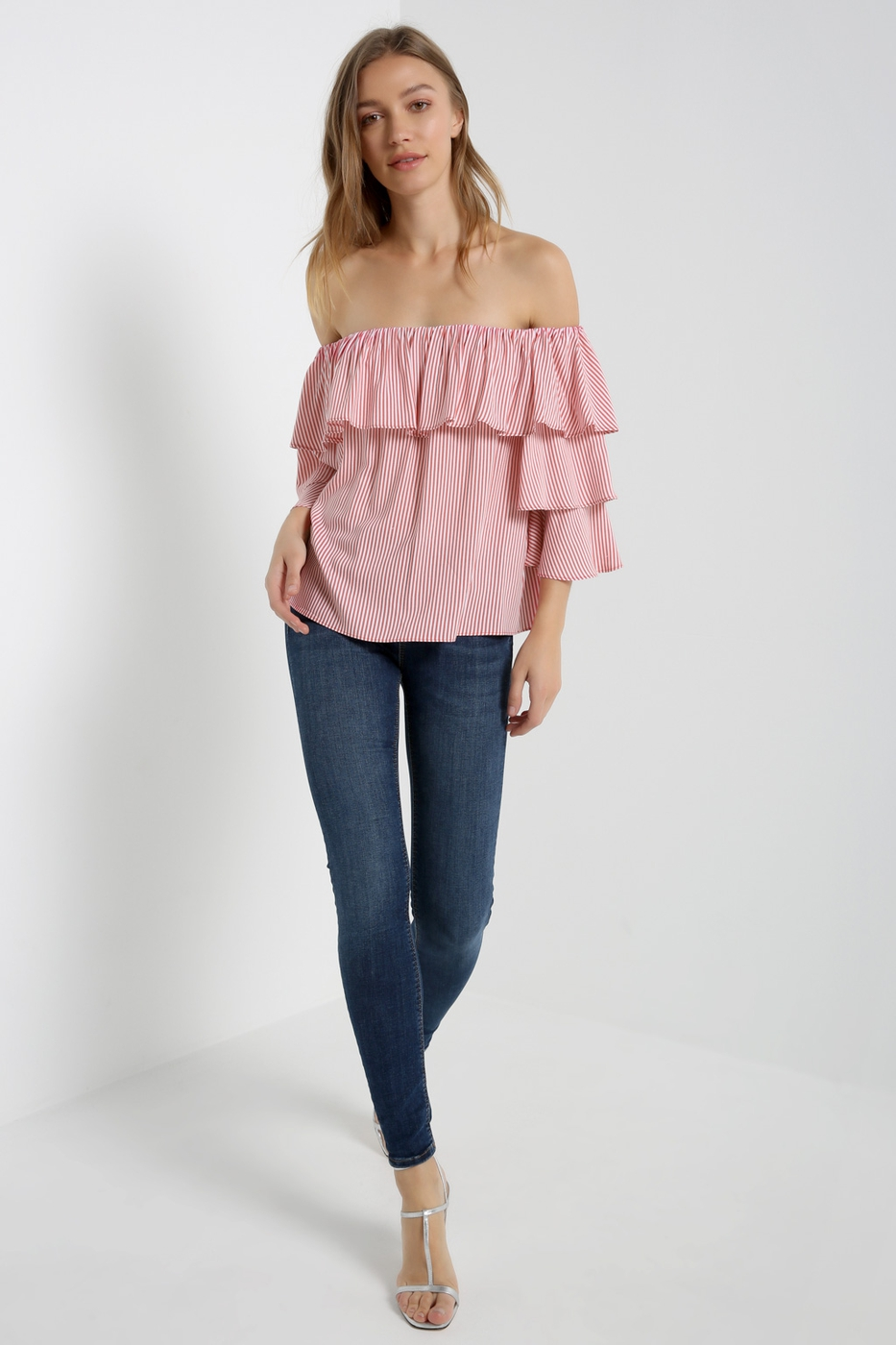 Pinstripe Off Shoulder Ruffle Top - orangeshine.com