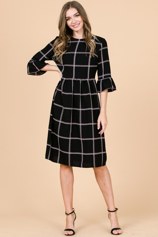 BELL SLEEVE PLAID WOVEN DRESS - orangeshine.com