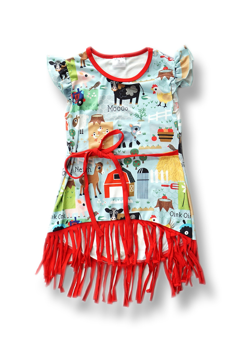 Mint Farm Animals Dress For Girls - orangeshine.com