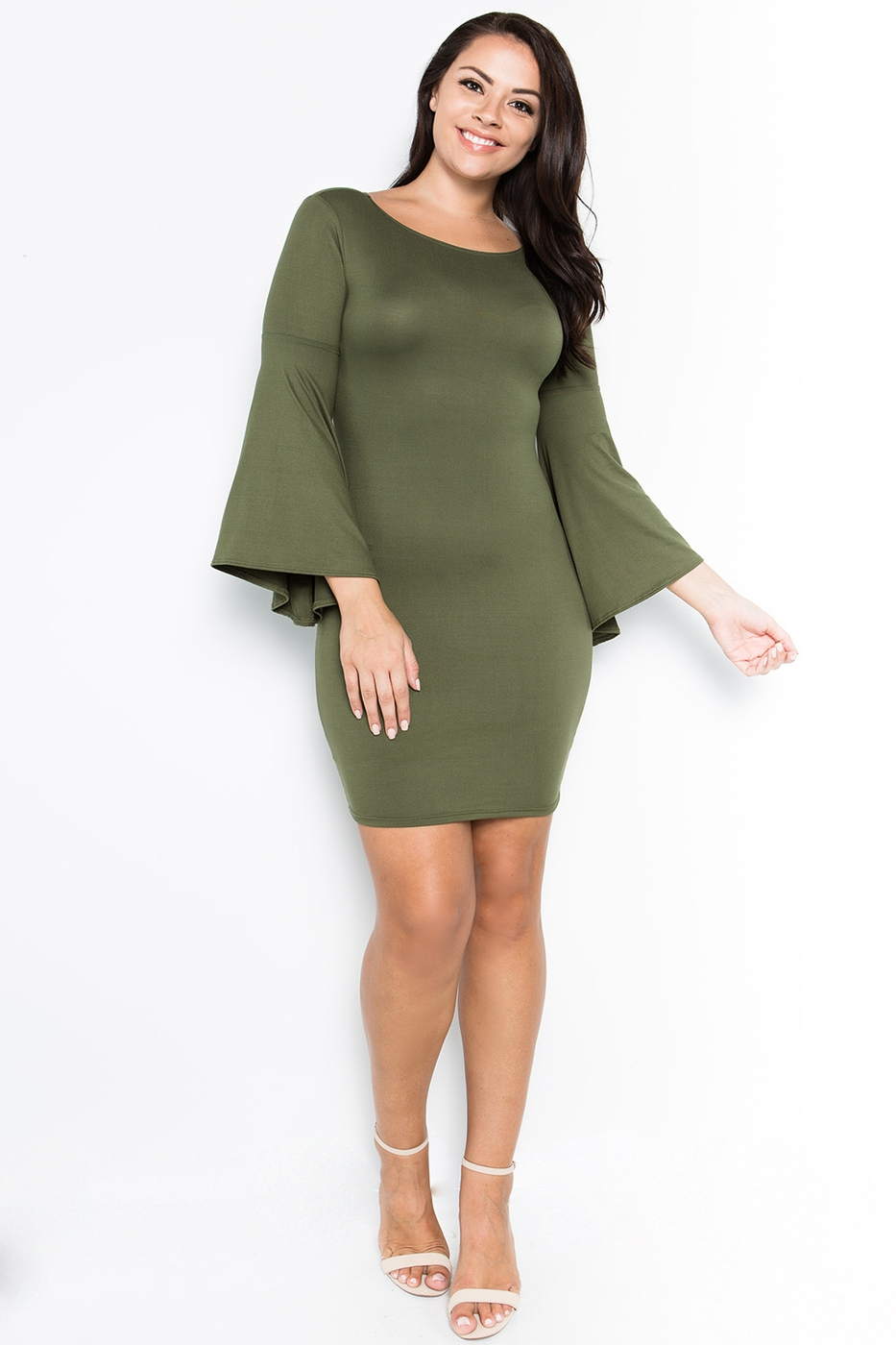 Flare Bell Sleeve Dress - orangeshine.com