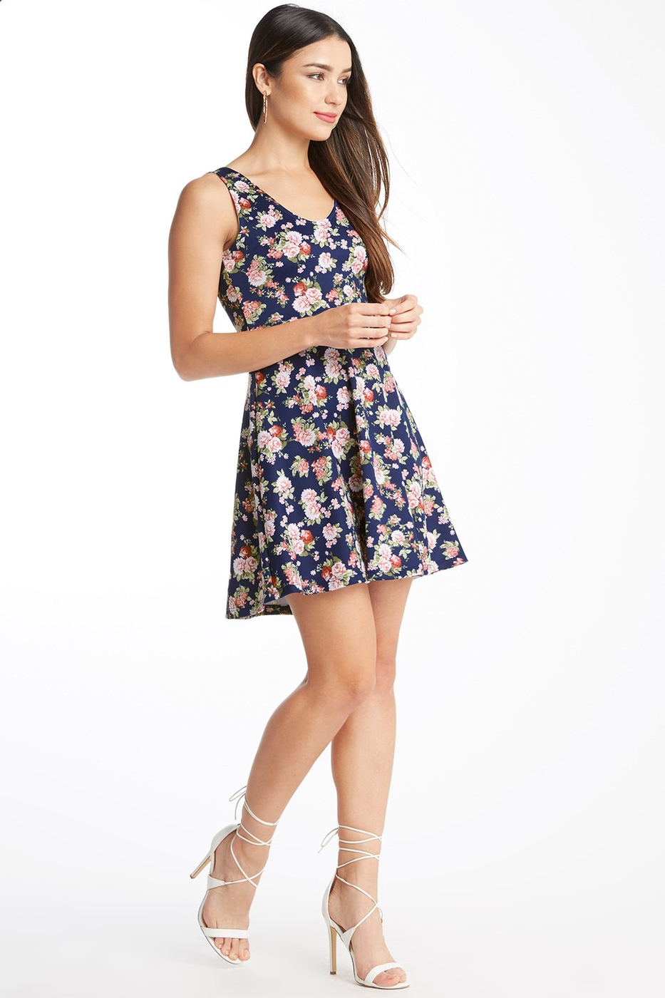 Floral Fit and Flare Dress Blush - orangeshine.com