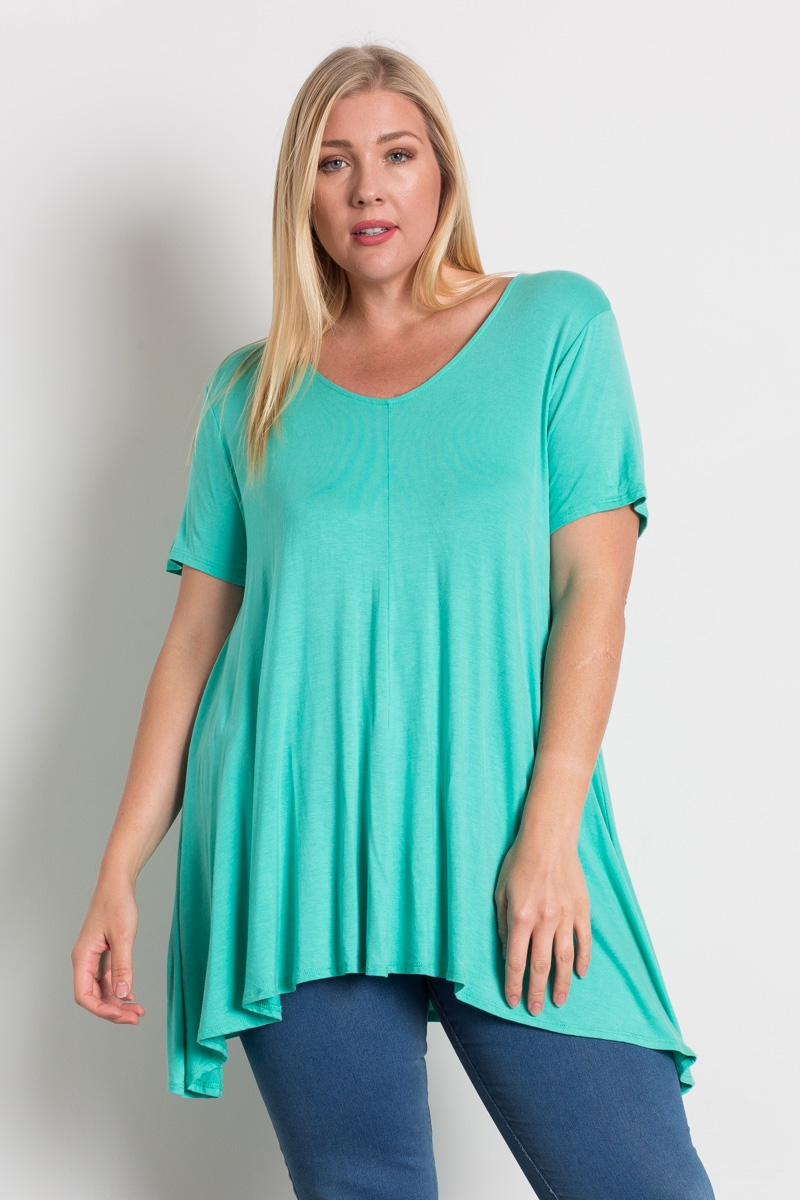 Plus Size Knit Solid V-Neck Top - orangeshine.com