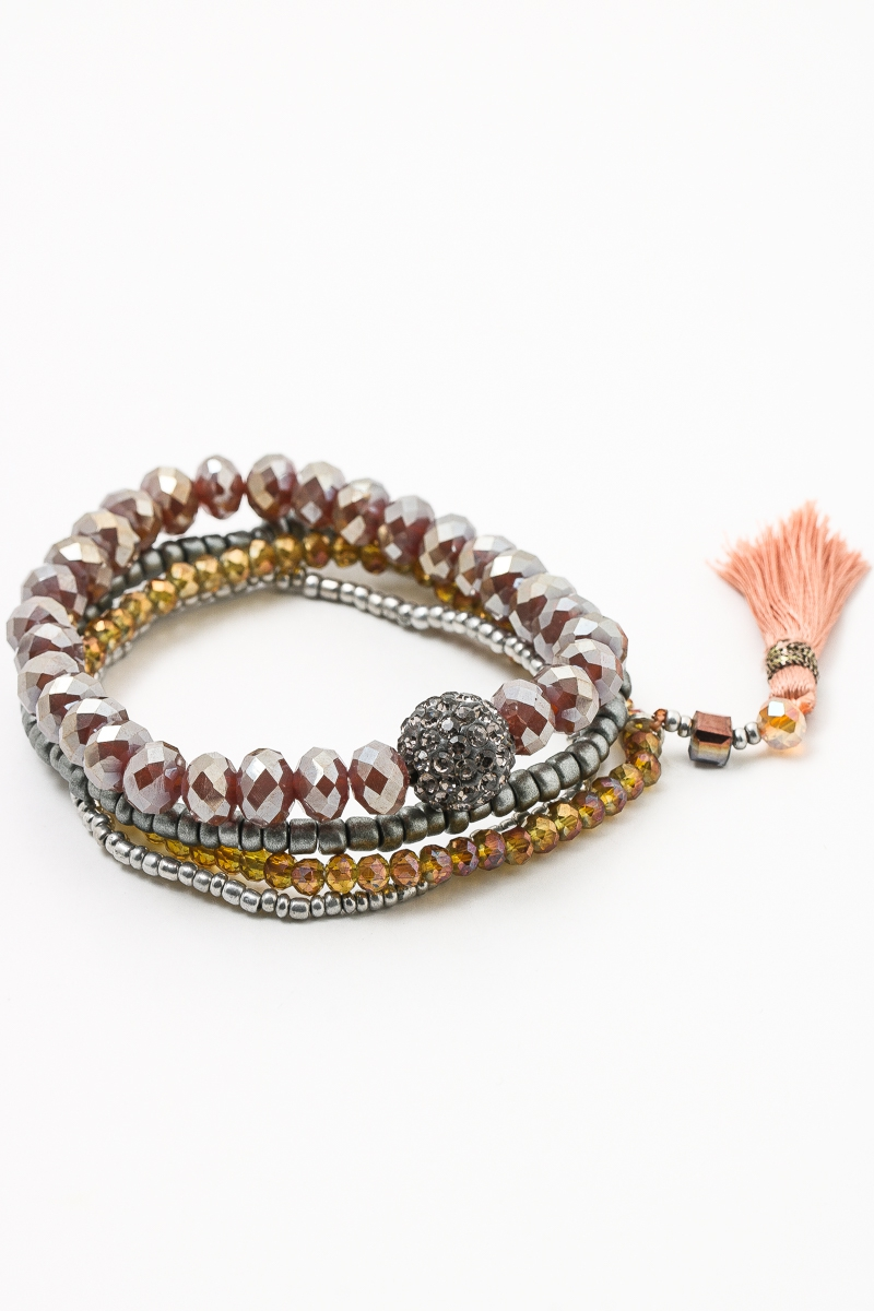 Metallic Layer Bead Tassel Bracelets - orangeshine.com