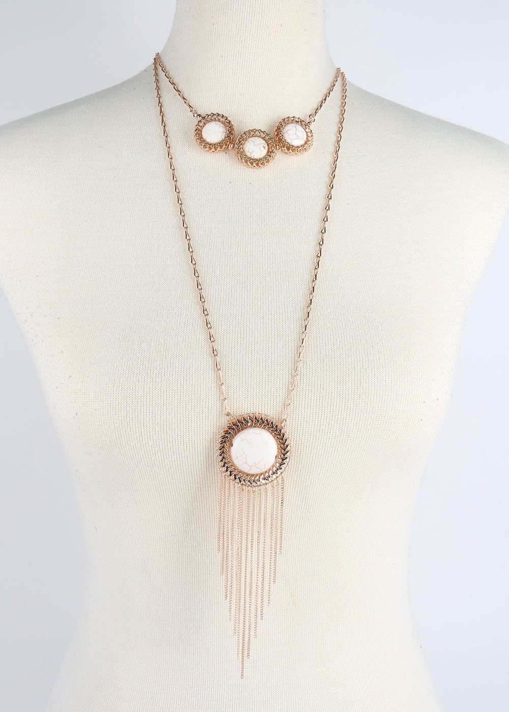 Multi Layered necklace with earrings - orangeshine.com