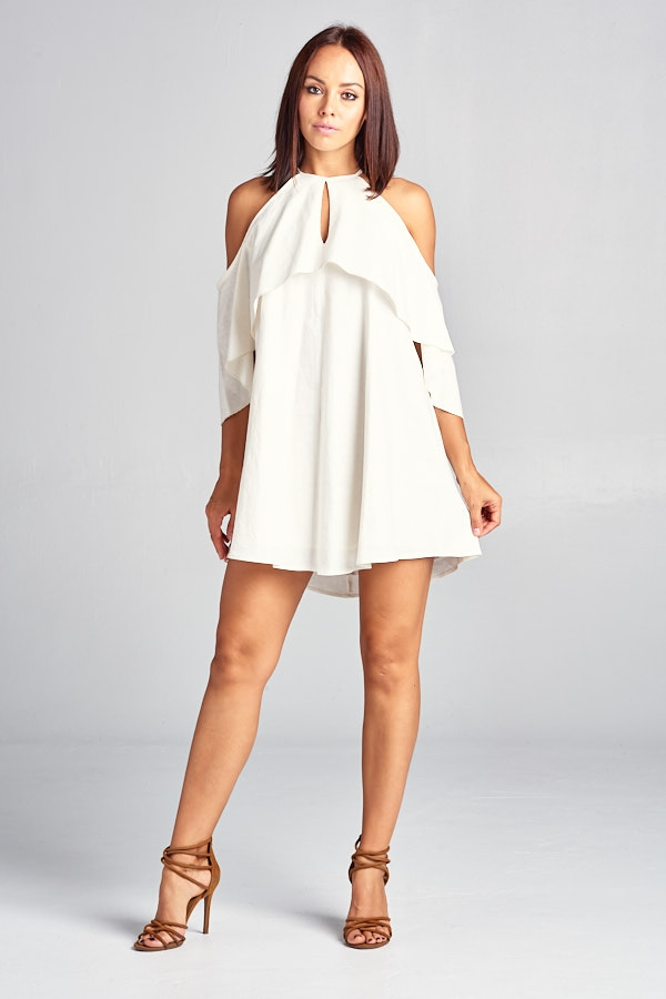 Short Off Shoulder Linen Dress - orangeshine.com