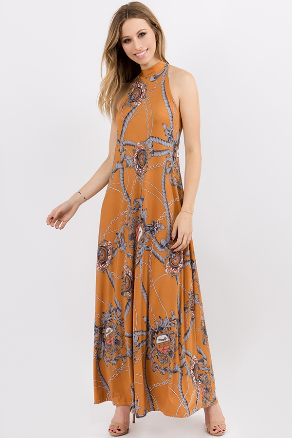High Neck Modern Maxi With Back Tie - orangeshine.com