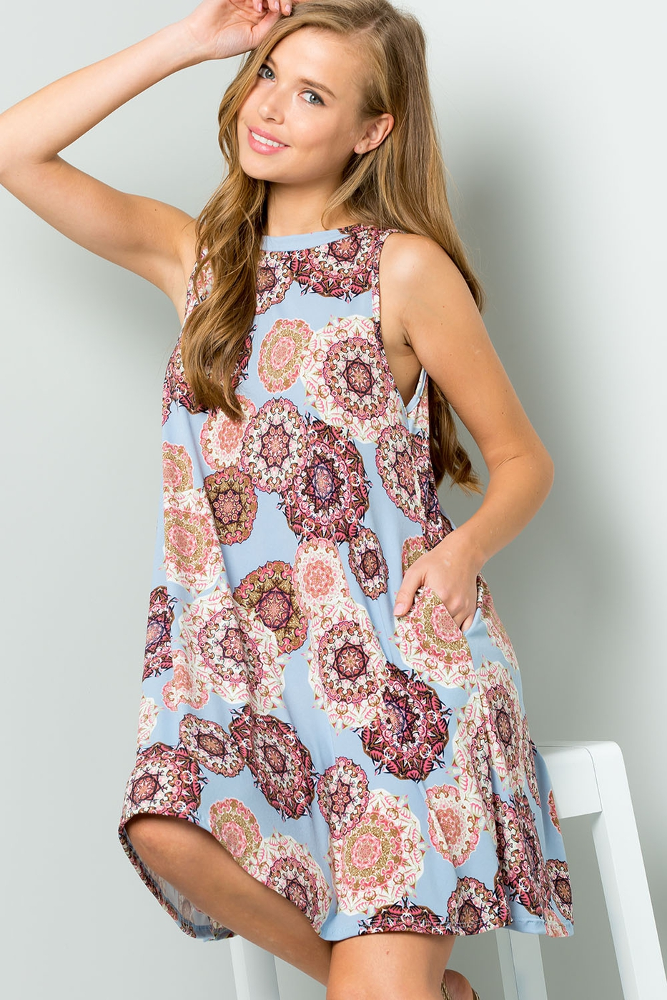 MEDALLION PRINT SWING KNIT DRESS  - orangeshine.com