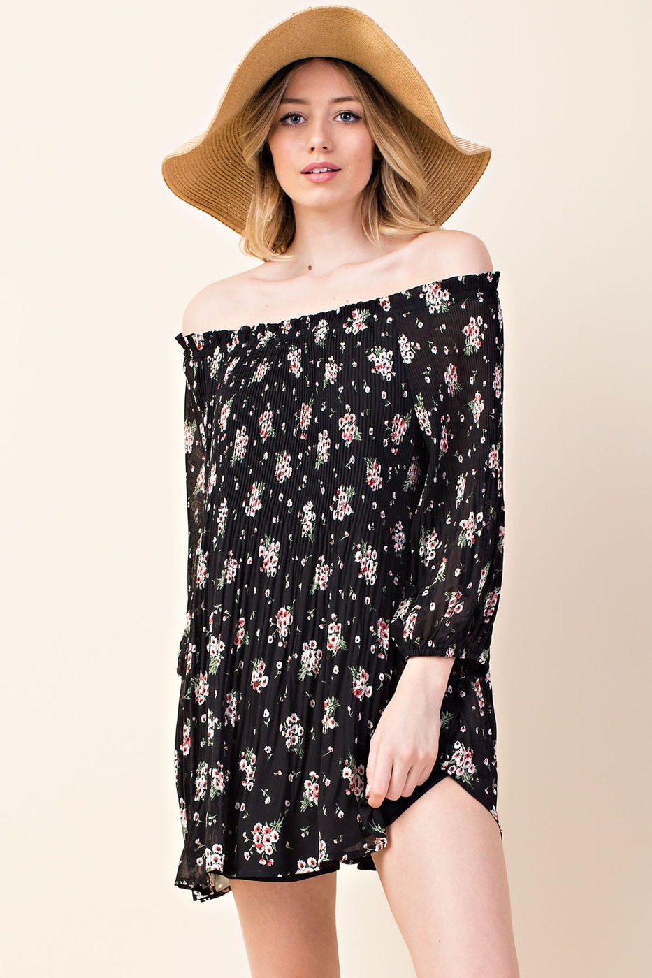 romantic ditsy floral pleated tunic - orangeshine.com