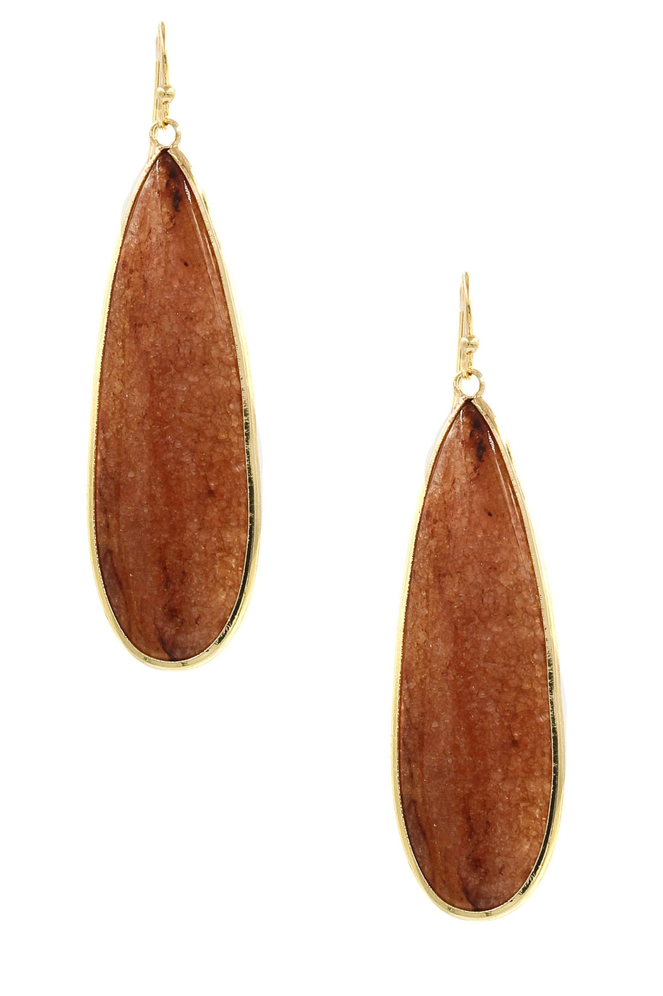 Teardrop Stone Drop Earrings - orangeshine.com