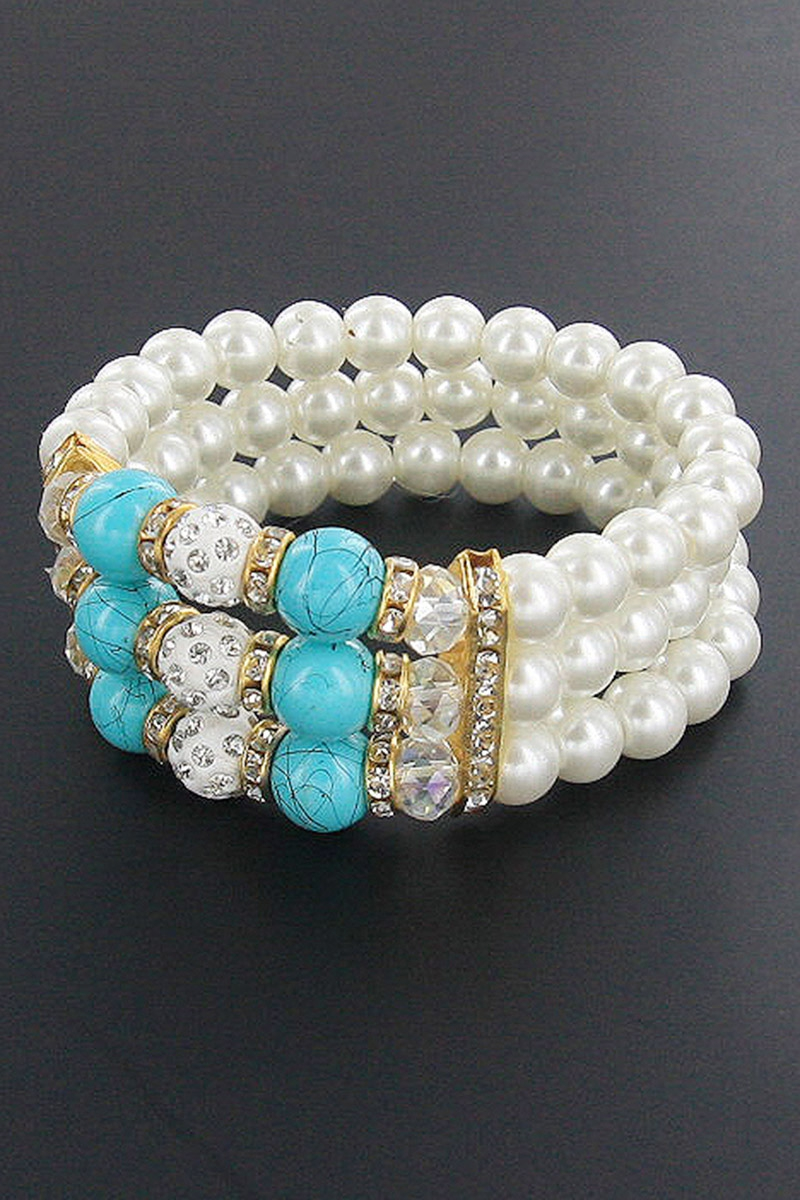 Pearl and Gemstone Stretch Bracelet - orangeshine.com
