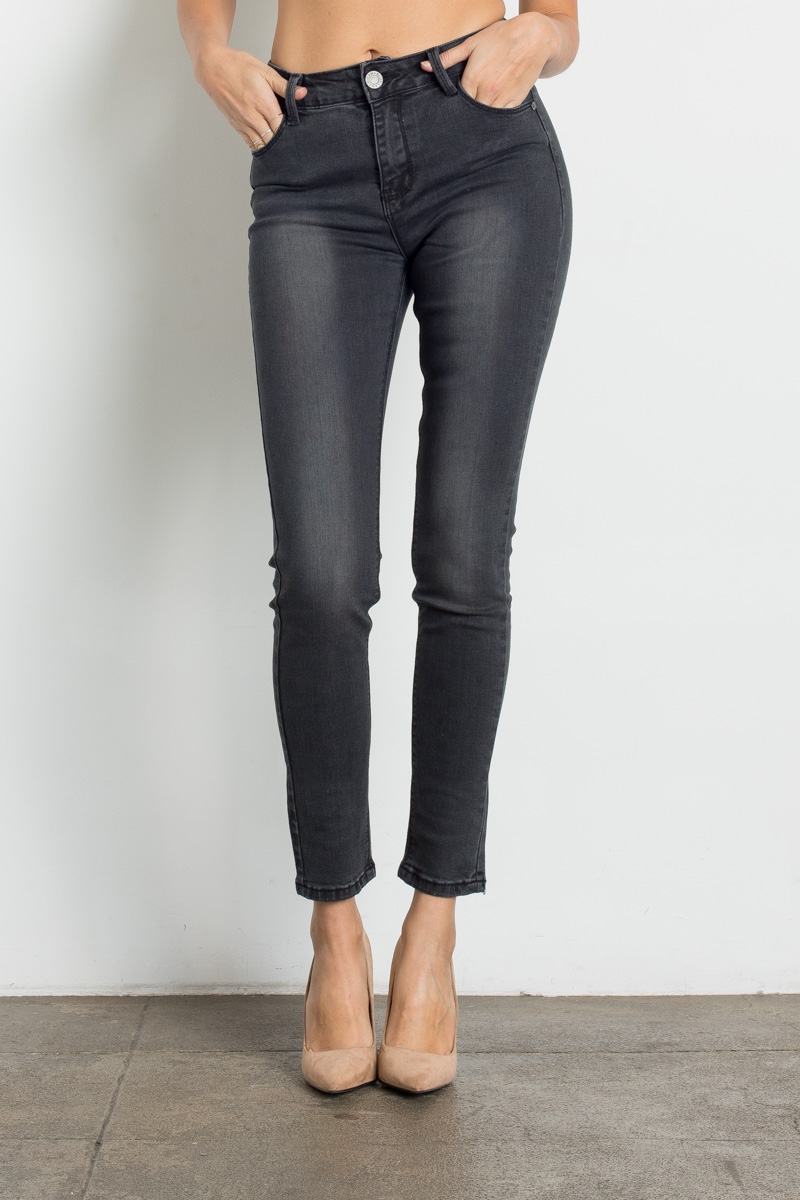 High Waist Washed Dark Grey Jeans - orangeshine.com
