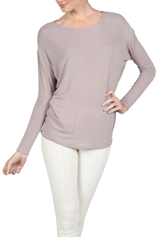 AA2084 SHEER LONG SLEEVE KNIT TOP - orangeshine.com