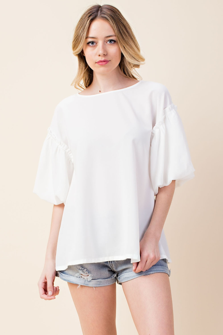 solid keyhole back puff sleeve top - orangeshine.com