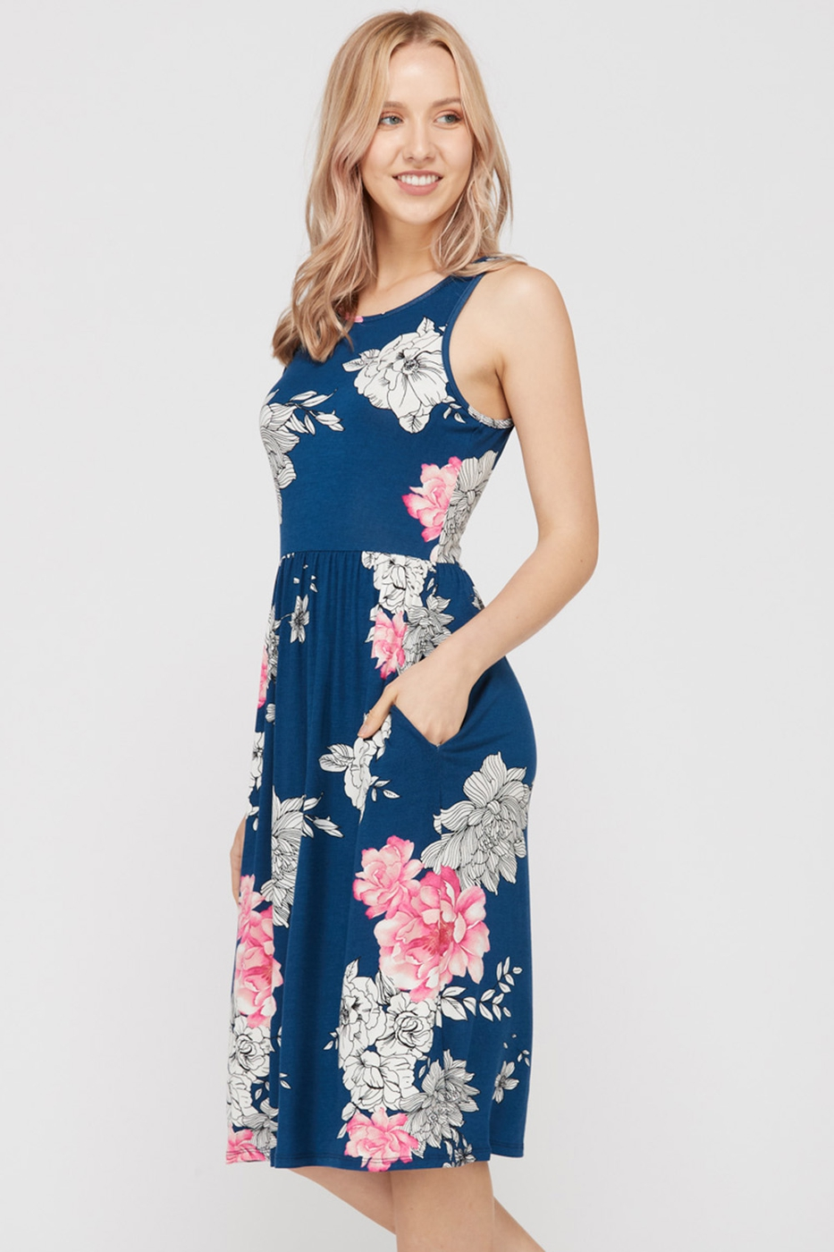 FLORAL MIDI DRESS - orangeshine.com