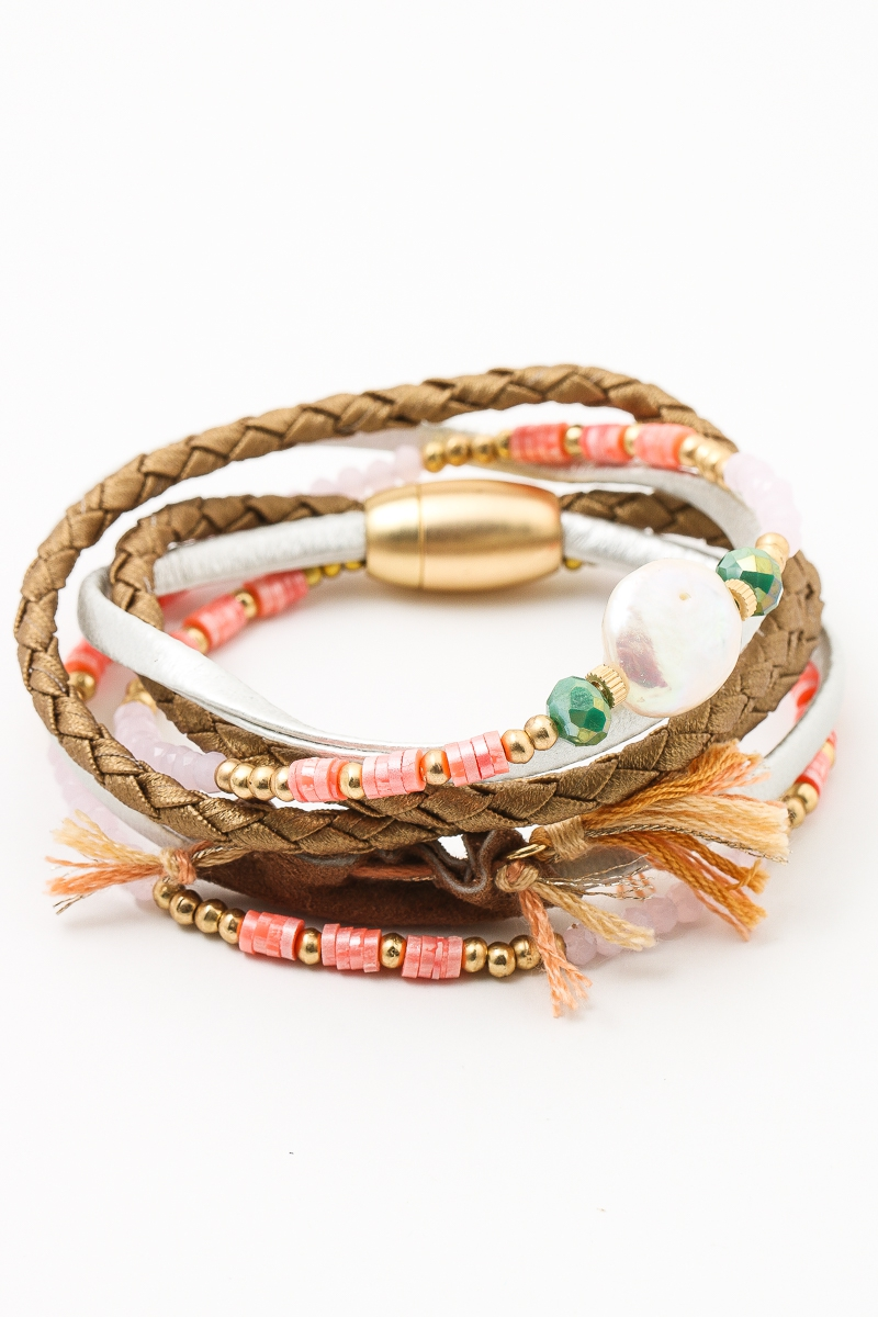Layered Beaded Braid Tassel Bracelet - orangeshine.com