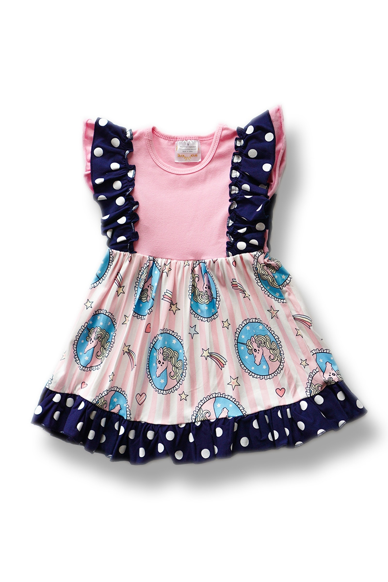 Pink Unicorn and Rainbow Ruffle Dres - orangeshine.com