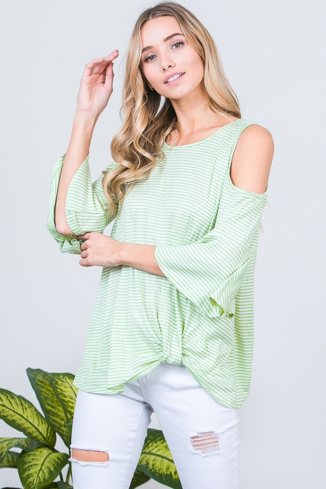 COLD SHOULDER STRIPED TOP - orangeshine.com