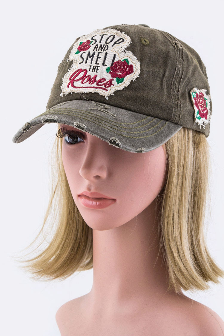 Stop and Smell The Rose Cotton Cap - orangeshine.com