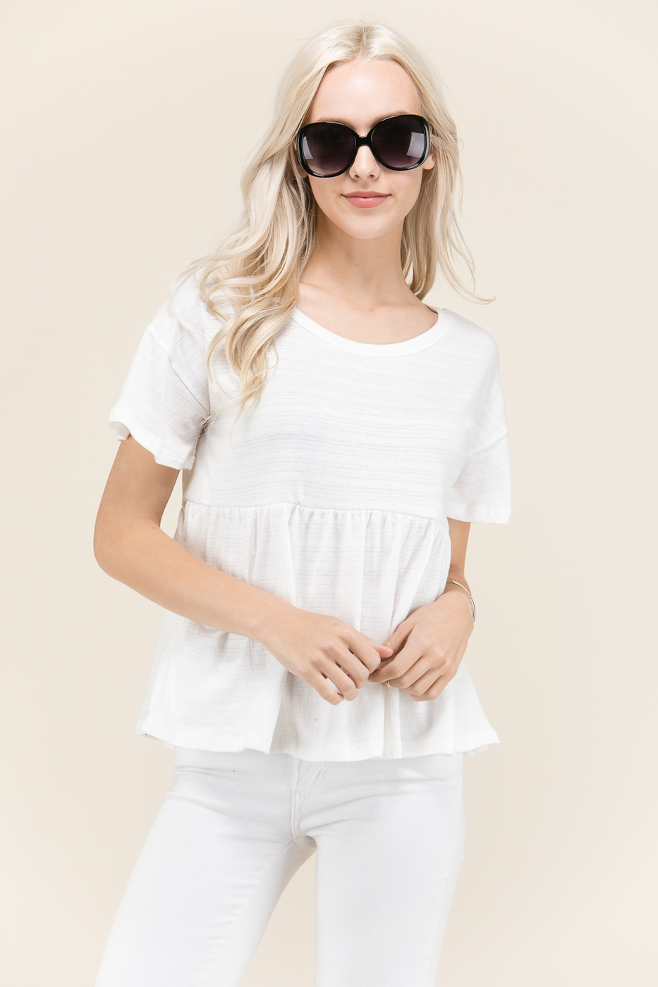SHORT SLEEVE BABYDOLL TOP  - orangeshine.com