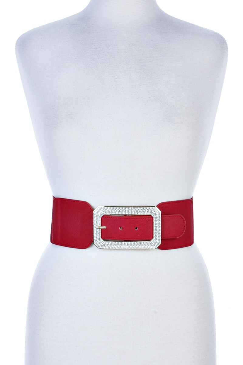 RHINESTONE BUCKLE STRETCH BELT - orangeshine.com