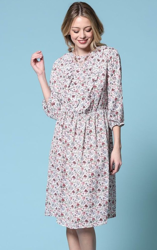 Floral printed dress with cinched  - orangeshine.com