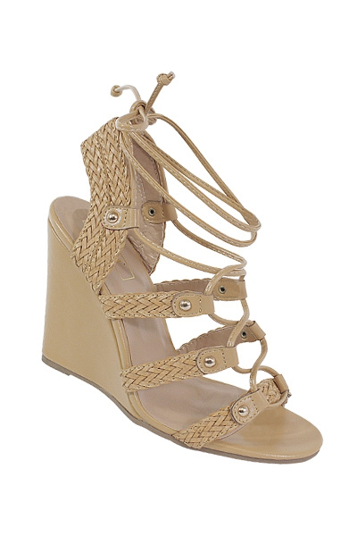 BRAIDED LACE UP COVERED WEDGE SANDAL - orangeshine.com