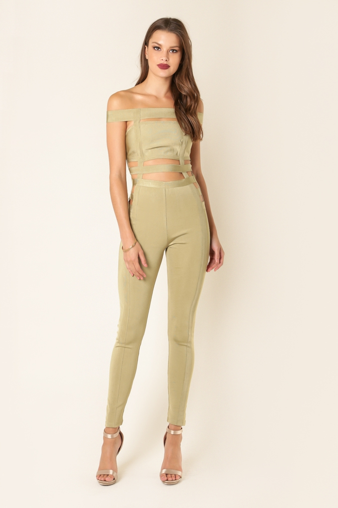 Off Shoulder Bandage Jumpsuit - orangeshine.com