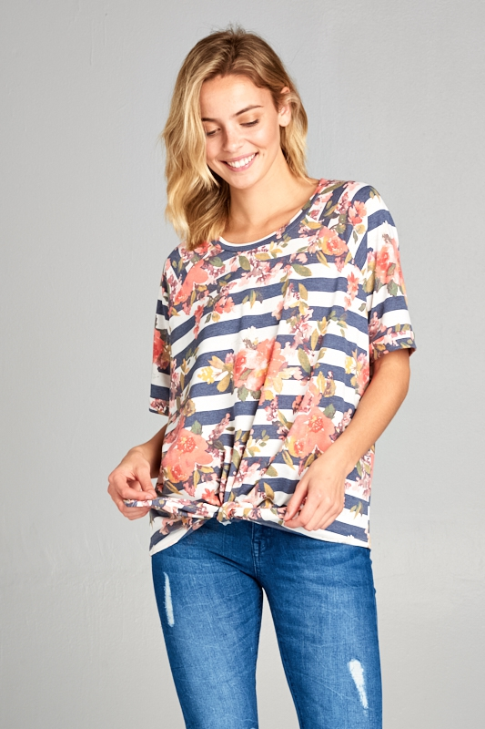 TIE FRONT SHORT SLEEVE TOP - orangeshine.com