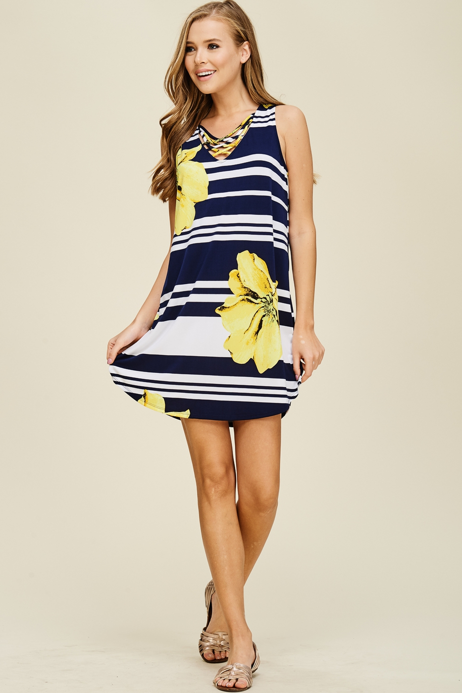 Criss Cross Floral And Striped Dress - orangeshine.com