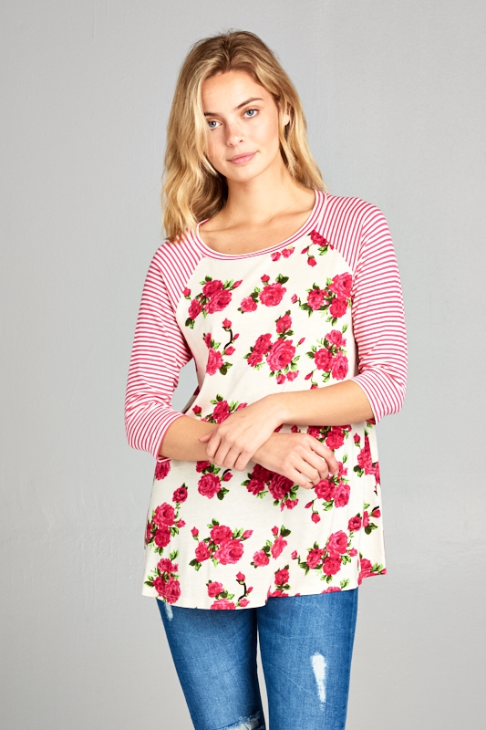 STRIPE FLORAL MIXED 3/4 SLEEVE TOP - orangeshine.com